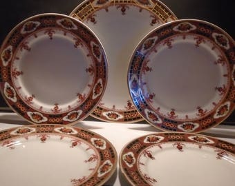 Stunning C.T. Altwasser Silesia Design Hand Painted,  1 Medium Plate and Four Side Plates, Dining & Serving, Made In Germany, 1925, Vintage