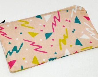 Totally Rad 80s & 90s Pink Squiggle Novelty Zipper Pouch - makeup bag; pencil case; gift for her; cosmetic bag; carry all; gadget case