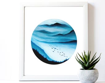Foggy Mountain Painting Print | Mountain Landscape | Geometric Painting