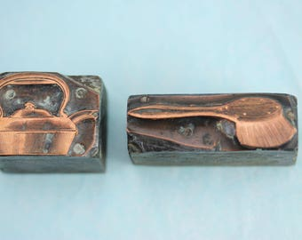 Antique Letterpress block stamps, engraved copper plate on wood block Kettle and Brush printing blocks, PetesNeatOldStuff, collectible print