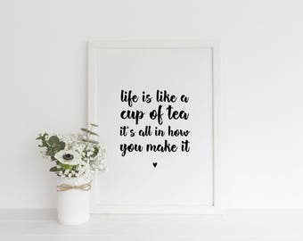 Life Is Like a Cup Of Tea Quote Print - Tea Quote Typography Print- New Home Print- Kitchen Quote Print- Word Art Print- Word Art Quote