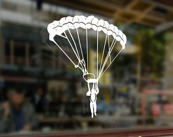 Skydiving Parachute Jumper Vinyl Stickers Funny Decals Bumper Car Auto Computer Truck Laptop Wall Window Glass Skateboard Snowboard Helmet