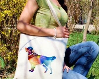 Golden Retriever tote -  Dog shoulder bag - Fashion canvas bag - Colorful printed market bag - Gift Idea
