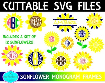 Sunflower SVG, PNG Files Silhouette Cameo and Cricut Files