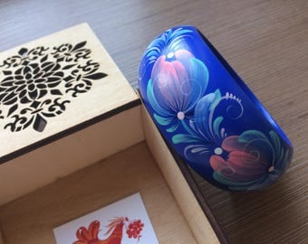 Royal blue bangle Hand painted wooden bracelet Ukrainian jewelry Petrykivka art Floral pattern Small, medium, big Gifts under 30 for women