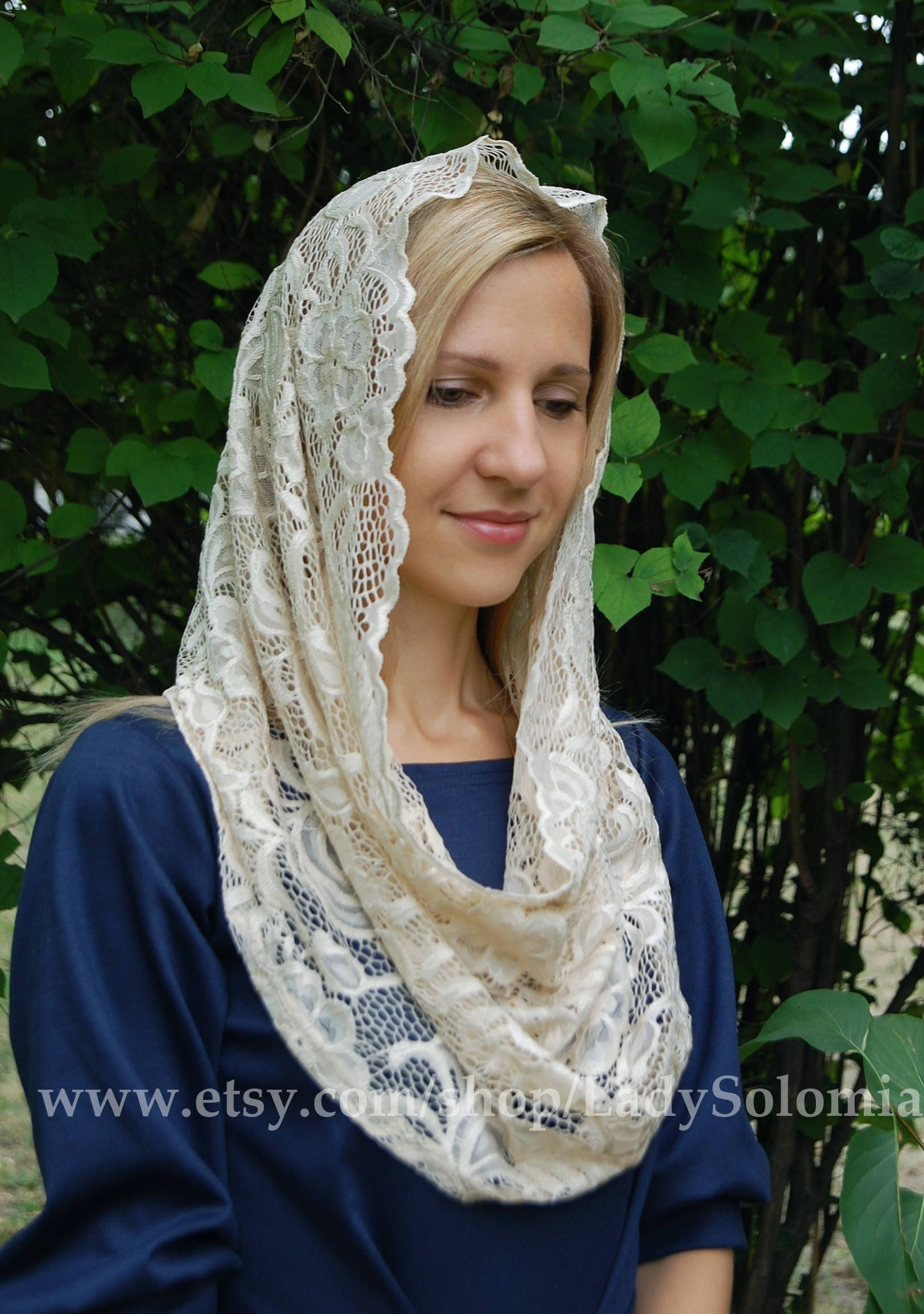 infinity veil. beige lace scarf, infinity veil, head coverings religious, traditional catholic infinity, veil s