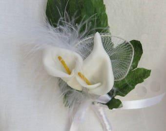 White callas lilies wedding buttonhole pin