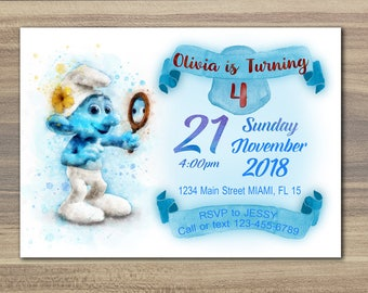 Smurfs Watercolor Invitation, Smurfs Birthday Invite, Smurfs Birthday Invitation Smurfs Birthday Party Invite Smurfs Party Printable