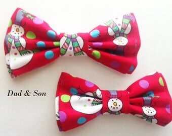 Bow Tie, Dad and Son Bow Ties, Red Bow Tie, Mens Bow Tie, Snowman Bow Tie,Father Son Bow Ties, Groomsmen Bow Tie,Bowtie, Boys Bow Tie  DS729