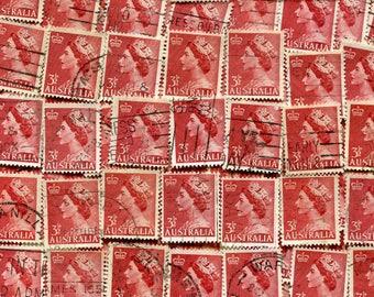 Queen Elizabeth II Stamps Dark Red Issued 1953 In Australia Used / 50 Dark Red Vintage Stamps