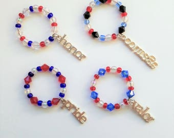Red, White, and Blue Patriotic USA Wine Glass Charms ~ Set of 4 ~ Courage, Valor, Honor, Pride