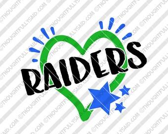 Raiders football team design, SVG, PNG, dxf, eps cut files, Silhouette, Cricut, high school, college, club, baseball, soccer, basketball