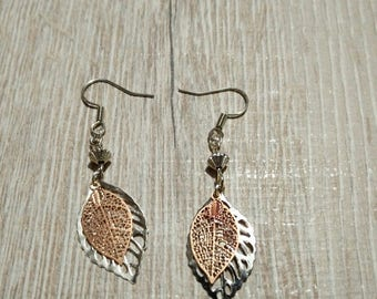 Earrings silver and gold leaves
