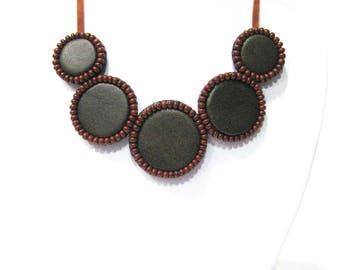 Brown leather necklace Embroidered necklace Bib leather necklace Brown necklace Bubble necklace Classic leather necklace Elegant necklace