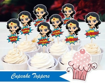 Future Wonder Woman Cupcake toppers/Paper print/Die Cuts/personalized Birthday decoration party supplies/Cake pops/Fast shipping