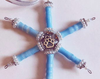 Baby blue and white pearl Pet Memorial Snowflake /Star proceeds benefit Missoula Youth Homes .
