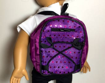 18 Inch Doll Clothes Purple Sequence Backpack With 2 Zippers  and Black Straps Fits Like American Girl Doll Clothes