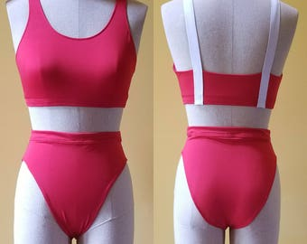 Red High Waisted Bikini with Contrast Back Suspender Strap