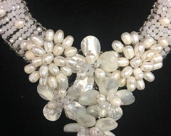 "Lovely ""Marissa""Cluster Glass Faux Pearl Necklace"