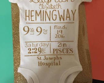 Personalized Birth Announcement Onesies!