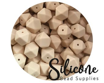 17mm - Cream Hexagon Silicone Beads, Silicone Teething Beads, 100% Food Grade Silicone Beads, BPA Free, Silicone Loose Bead
