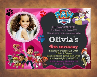 Paw Patrol Invitation, Paw Patrol Birthday Party, Paw Patrol Birthday Invitation, Personalized, Dogs Invite, Rocky, Everest, Digital File