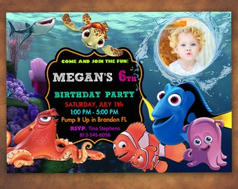 Finding Dory Invitation, Finding Dory Birthday Party, Finding Nemo Invitation, Under the Sea, Personalized, Printable, Digital File