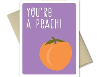 Thank you Cards - Greeting Cards - Thank you notes - Note Cards - Pun cards - Food cards - You're A Peach