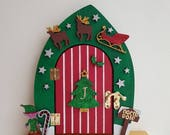 Large Wooden Fairy Elf Door With Santa Sleigh Reindeer Stars Candy Can North Pole Christmas Tree Holly Berry Festive Tradition Traditional