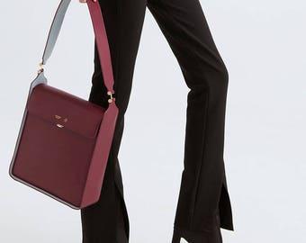 Large shoulder bag leather bag purse, designer shoulder bags, messenger bag, Bordeaux shoulder bags, medium shoulder bag ladies Two-tone bag