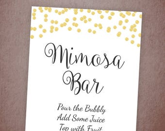 Mimosa Bar Sign Printable, Bubbly Bar Sign, Cocktail Drink Sign, Gold Confetti Wedding Sign, Baby Shower, Bridal Shower Decor, A001