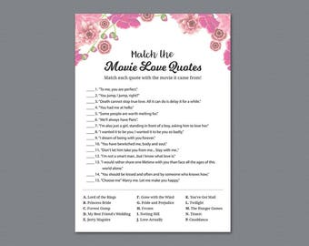 Match The Movie Love Quotes, Pink Floral Watercolor, Printable Bridal Shower Game, Wedding Shower, Instant Download, Matching Game, A005