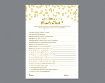 Who knows the Bride Best Game Printable, Gold Confetti Bridal Shower, How Well Do You Know the Bride, Bachelorette, Wedding Shower, A002