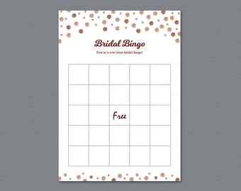 Empty Rose Gold Bridal Shower Bingo Cards Template, Bridal Shower Games, Bachelorette Party, Wedding Shower, Burgundy Glitter, A009