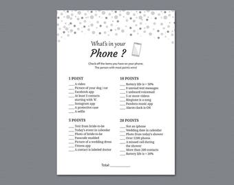 What's In Your Phone Game, Grey Dots Glitter, Bridal Shower Games Printable, Bachelorette Party, Whats on Your Cell Phone, Wedding, A020