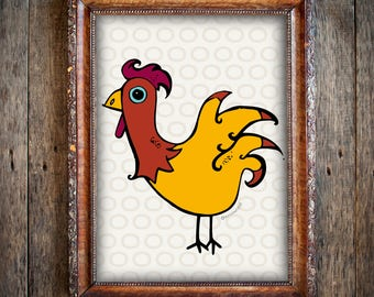 Rooster Print // Country Art Print // Chicken Print
