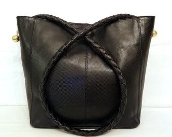 Mint! BOTTEGA VENETA Vintage Leather Woven Handle Marco Polo Tote Bag Black