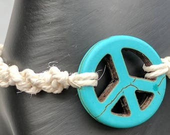 Peace Sign Hemp Bracelet // Adjustable