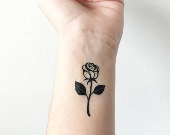 Rose with Stem - Temporary Tattoo