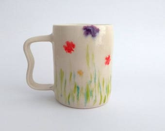 Ceramic mug, handmade, nature scene design, flowers and leaves, red, purple, yellow, green, coffee mug, hot chocolate, unique birthday gift