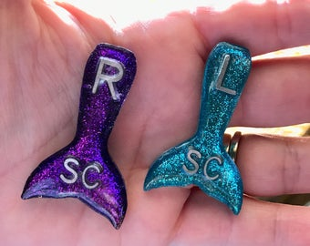 Mermaid Tail Xray Markers Teal and Purple Glitter
