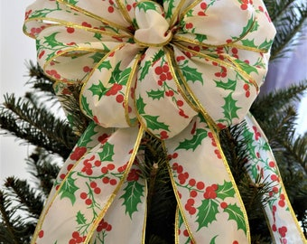 Christmas Holly Bow, Tree Topper Bow, Wreath Bow, Light Post Bow