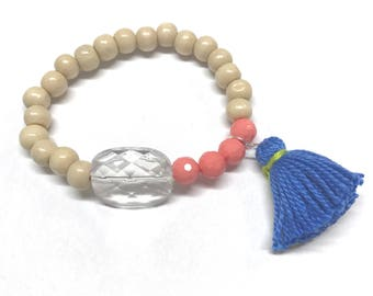 Coral, blue, and wood bead bracelet