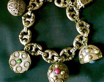 Vintage 800 Silver Peruzzi 1930's Italy Etruscan Fob Charm Link Bracelet