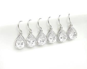 Set of 3 pairs Bridesmaids earrings, bride earrings, wedding cubic zirconia earrings, Crystal jewelry, Teardrop earrings, Bridal earrings