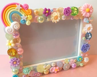 Handmade Rainbow Baby Photo Frame Baby Gift Pastel Colours