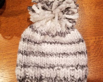 Handmade knit youth beanie hat. Gray, white, black stripe