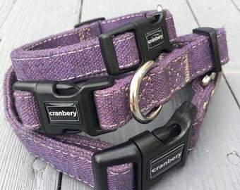 Natural Hemp Dog Collar Purple