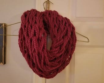 Knitted Infinity Scarf / Arm Knit / Chunky Scarf / Chunky Cowl / Wool Scarf / Double Wrap Scarf / Red Scarf