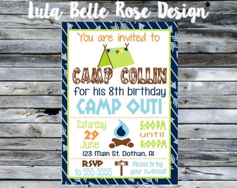 Camping Party Invitation, Campout Birthday Invitation, Campout Invitation, Boys Sleepover Invitation, Backyard Sleepover